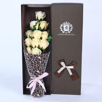 Mother's Day Gift 11 PCS Handmade Soap Rose Artificial Flowers - CHAMPAGNE CHAMPAGNE