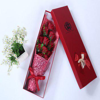 Mother's Day Gift 11 PCS Handmade Soap Rose Artificial Flowers -  RED