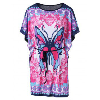 Butterfly Sleeve Tie Belt Butterfly Print T-Shirt