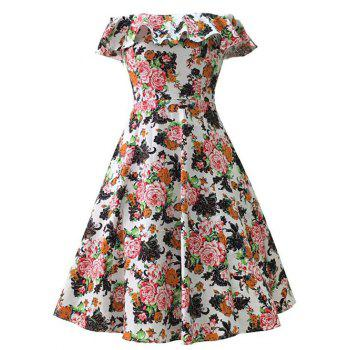 Off Shoulder Flounce 50s Floral Midi Dress