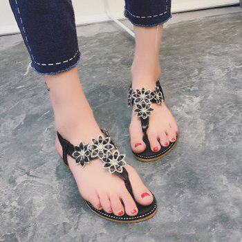 Elastic Band Flowers Flip Flot Flat Sandals