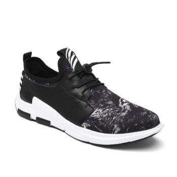 Striped Faux Leather Athletic Shoes
