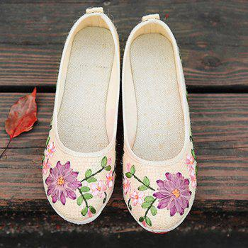 Wedge Heels Embroidery Ethnic Shoes - BEIGE BEIGE