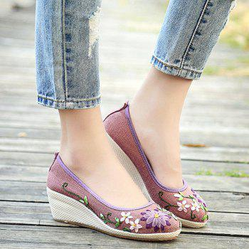 Wedge Heels Embroidery Ethnic Shoes - PURPLE PURPLE