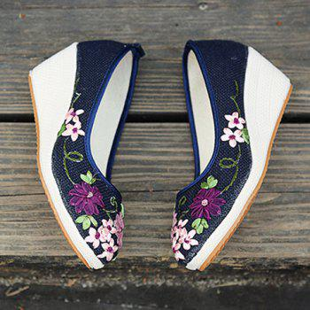 Wedge Heels Embroidery Ethnic Shoes - BLUE 39