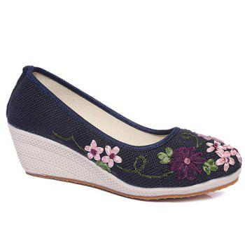 Wedge Heels Embroidery Ethnic Shoes - BLUE BLUE