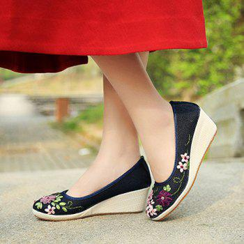 Wedge Heels Embroidery Ethnic Shoes - BLUE 38