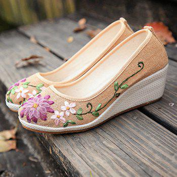 Wedge Heels Embroidery Ethnic Shoes - CANDY BEIGE CANDY BEIGE