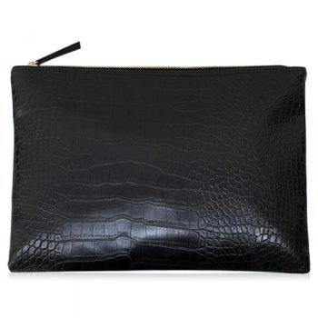 Faux Leather Crocodile Pattern Clutch Bag - BLACK BLACK