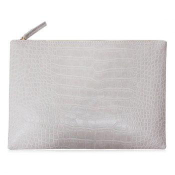 Faux Leather Crocodile Pattern Clutch Bag