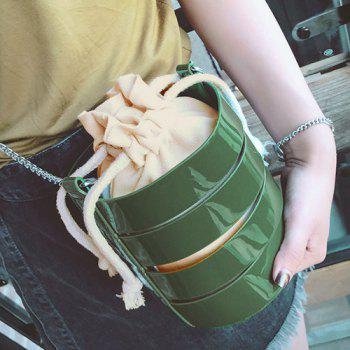Cross Body Bucket Bag with Pouch Bag - GREEN