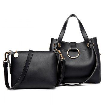 Crossbody Bag and Metallic Ring Handbag - BLACK BLACK