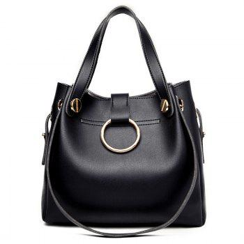 Crossbody Bag and Metallic Ring Handbag -  BLACK
