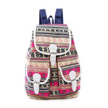 Buckles Canvas Tribal Print Backpack