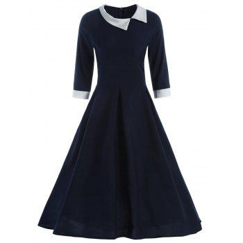 Vintage Style 3/4 Sleeve Scoop Neck A-Line HIt Color Women's Dress
