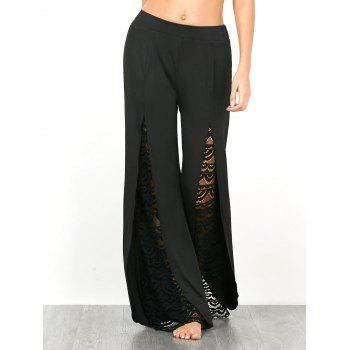 High Split Lace Insert Palazzo Pants
