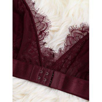 Sheer Lace Bra with Pajama Shorts - WINE RED WINE RED