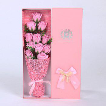 Mother's Day Gift 11 PCS Handmade Soap Rose Artificial Flowers - PINK PINK
