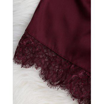 Sheer Lace Bra with Pajama Shorts - WINE RED M