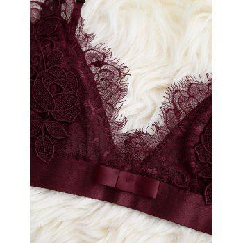 Sheer Lace Bra with Pajama Shorts - WINE RED L