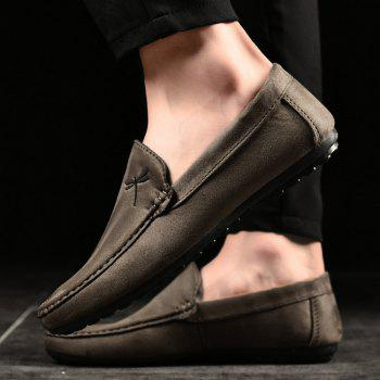 Embroidery Slip On Stitching Casual Shoes - KHAKI 42
