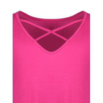 Plus Size Cutout Criss Cross Long Swing T-Shirt - ROSE RED 3XL