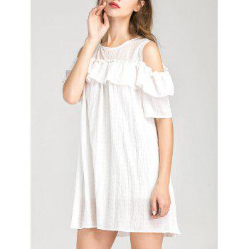 Cold Shoulder Ruffle Layer Dress - WHITE L