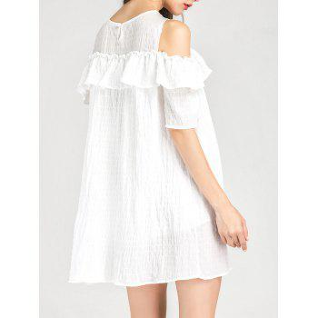 Cold Shoulder Ruffle Layer Dress - WHITE S