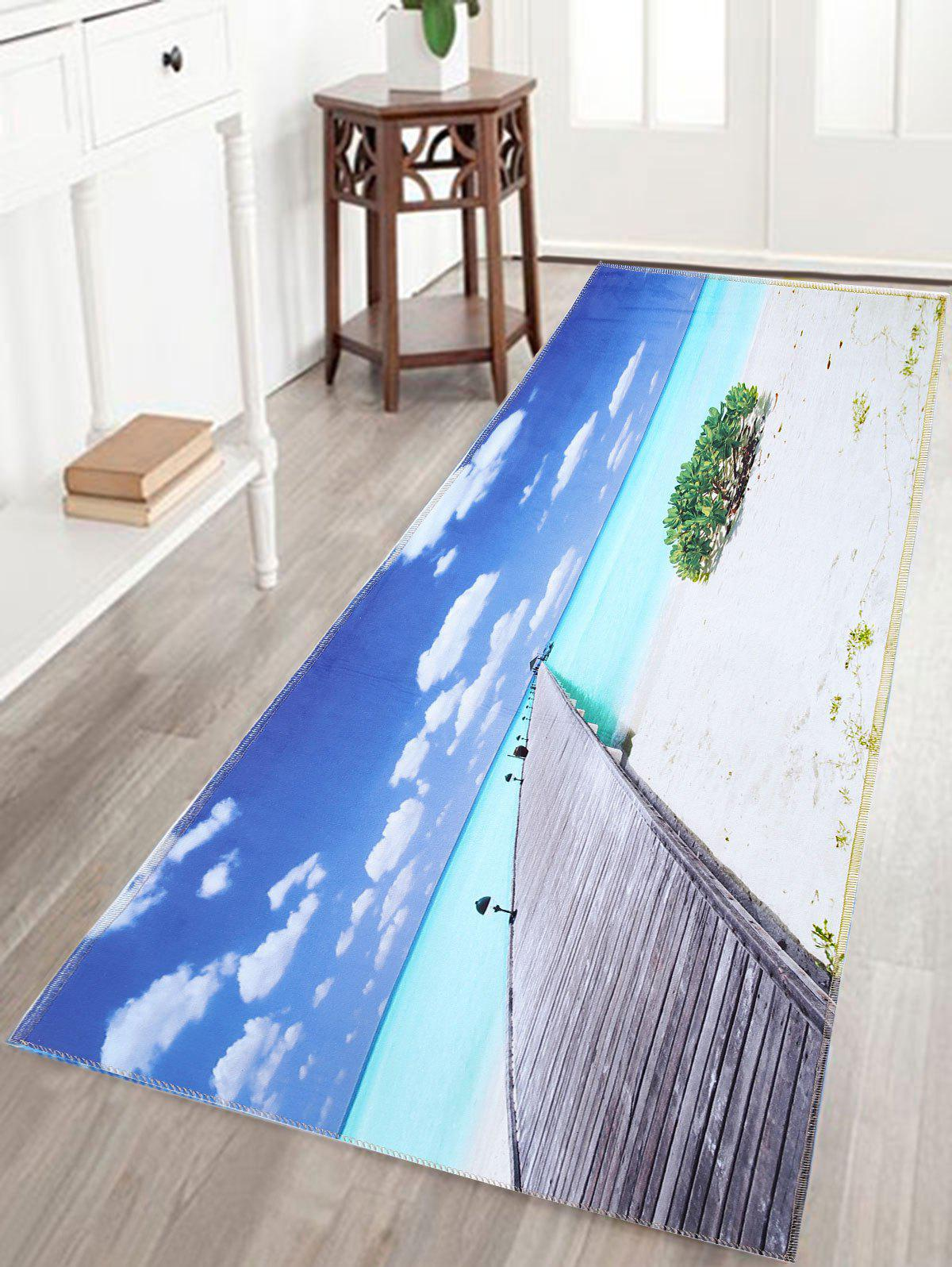 Skidproof Water Absorption Bathroom Rug with Sea Bridge Print skidproof water absorption bathroom rug with wood grain print