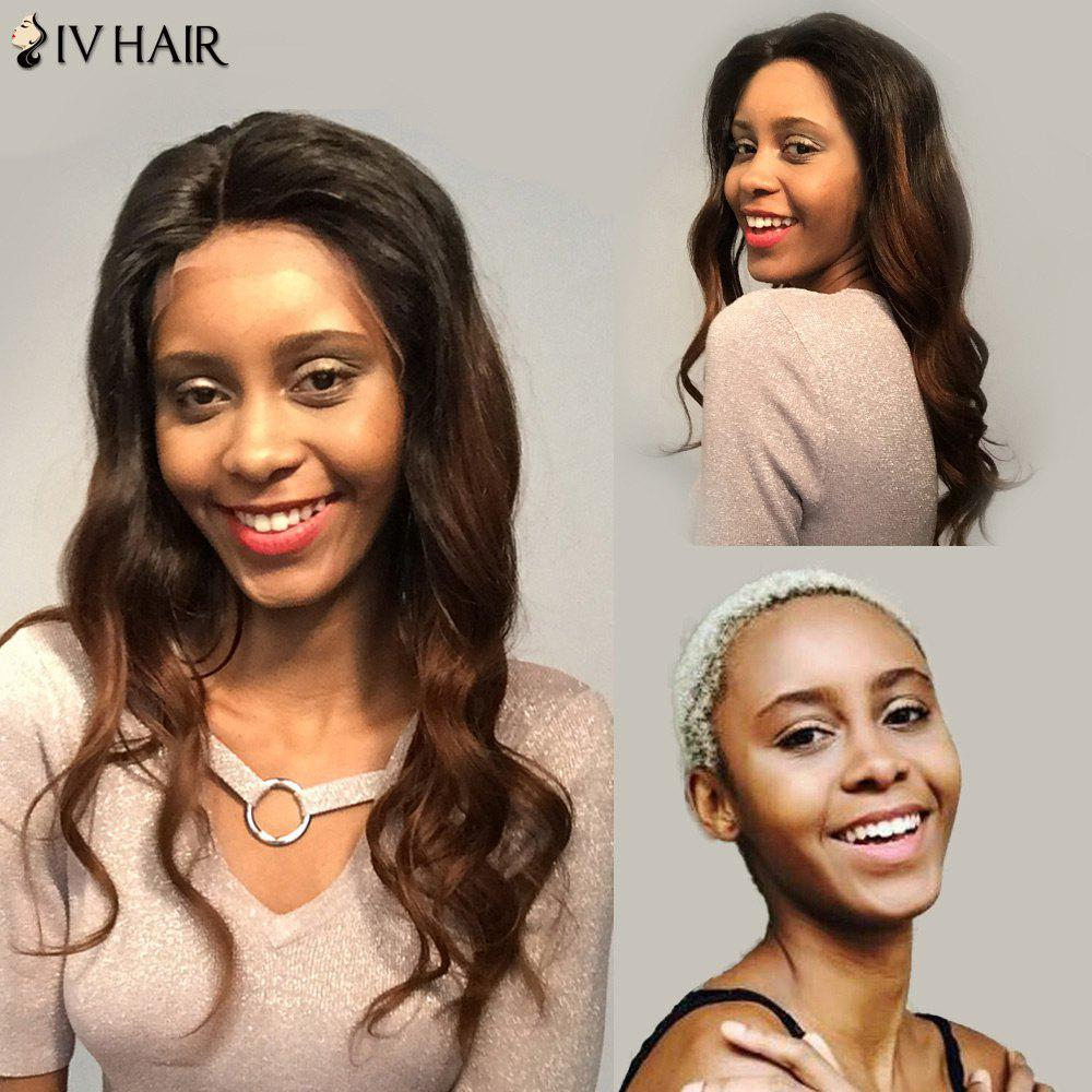 Siv Hair Free Part Two Tone Long Body Wave Lace Front Human Hair Wig