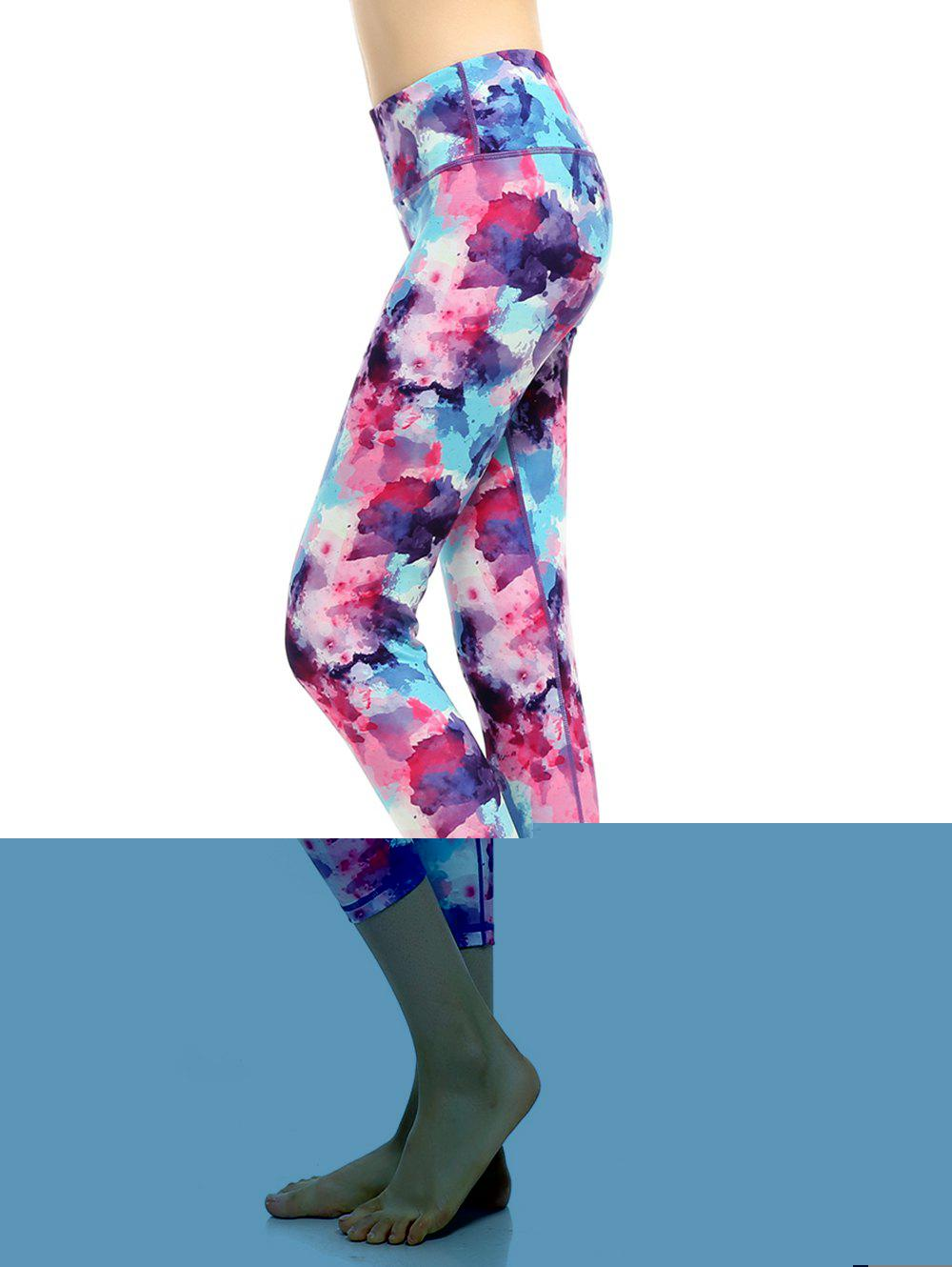 High Rise Printed Capri Funky Gym Leggings женское бикини large bust swimsuits 2015 bk15035