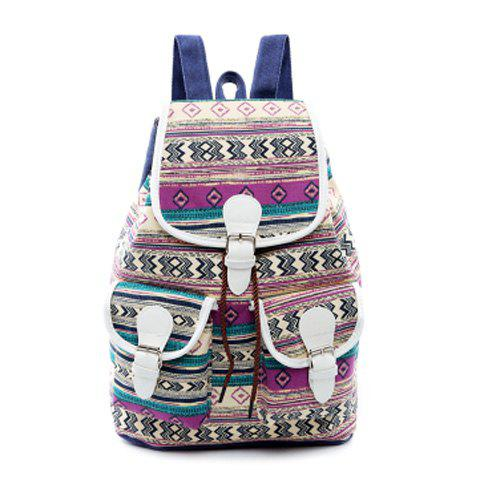 Buckles Canvas Tribal Print Backpack - PURPLE