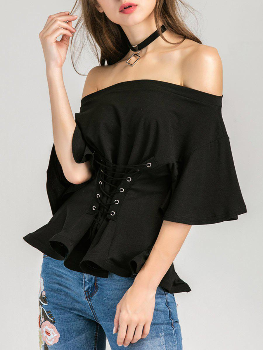 Lace Up Off The Shoulder Blouse