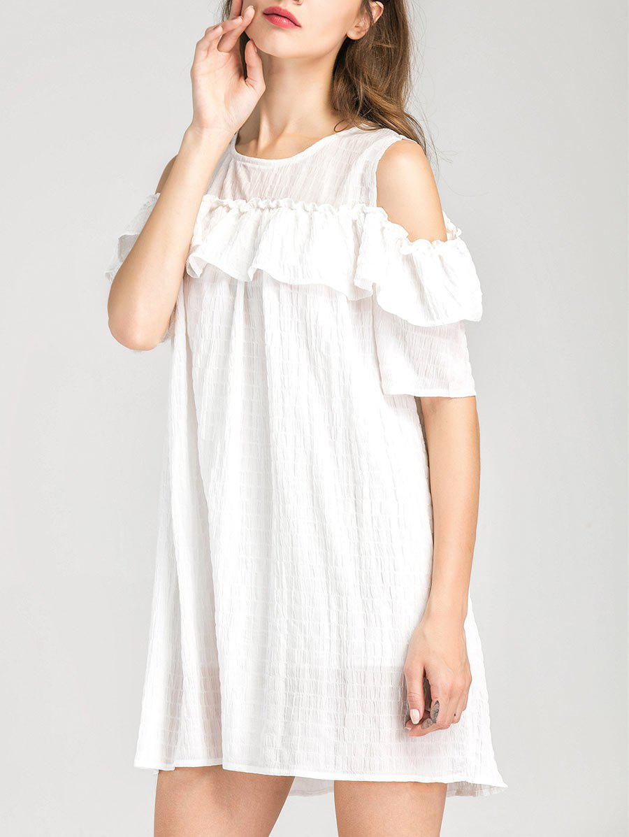 Cold Shoulder Ruffle Layer Dress - WHITE M