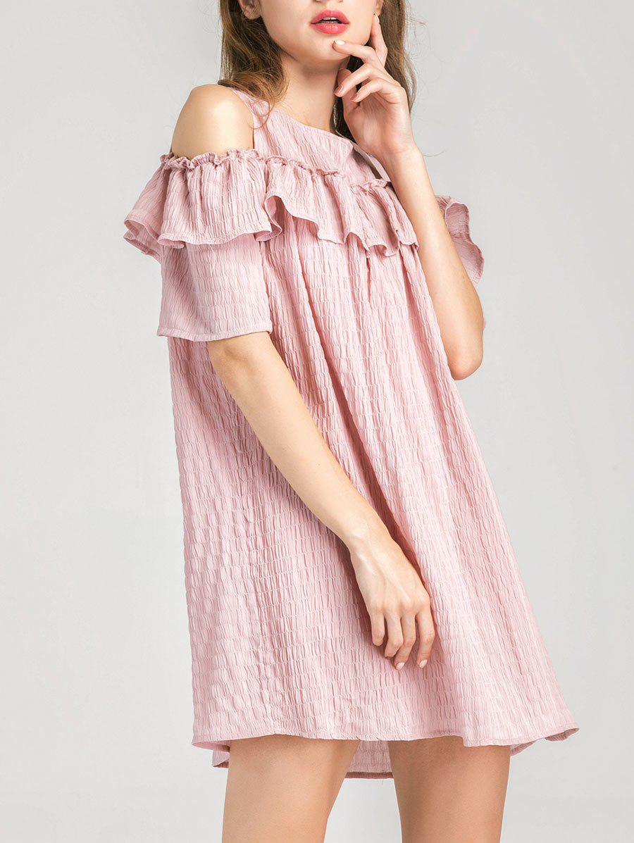 Cold Shoulder Ruffle Layer Dress - PINK L