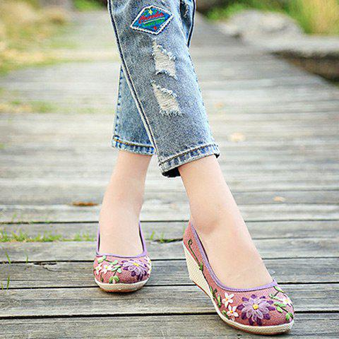 Wedge Heels Embroidery Ethnic Shoes - PURPLE 39