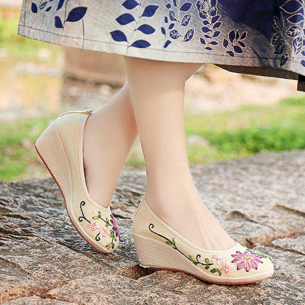Wedge Heels Embroidery Ethnic Shoes - BEIGE 39