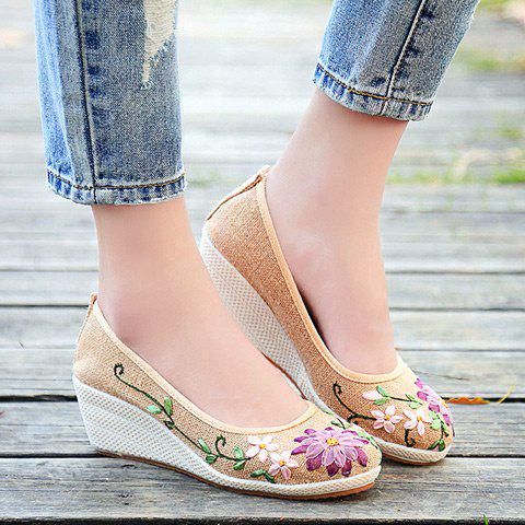 Wedge Heels Embroidery Ethnic Shoes - CANDY BEIGE 38