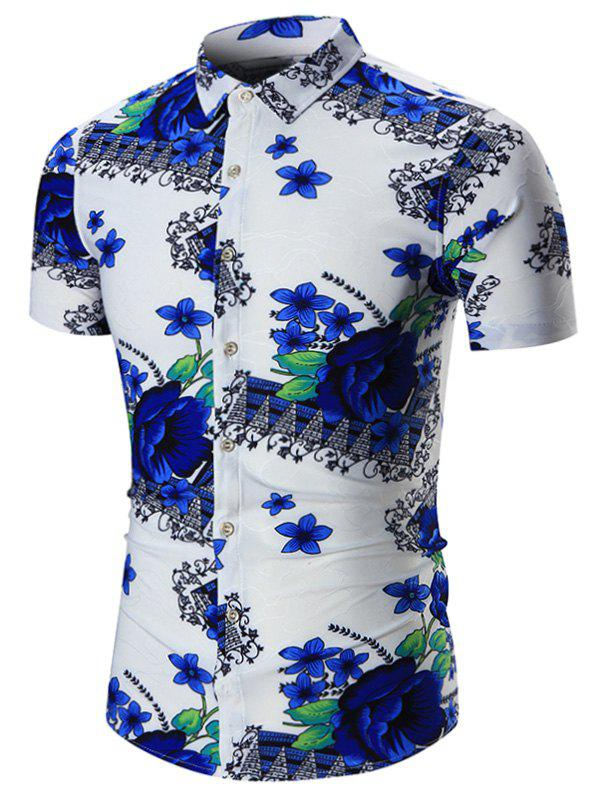 Short Sleeves Floral Plus Size Shirt - BLUE 5XL