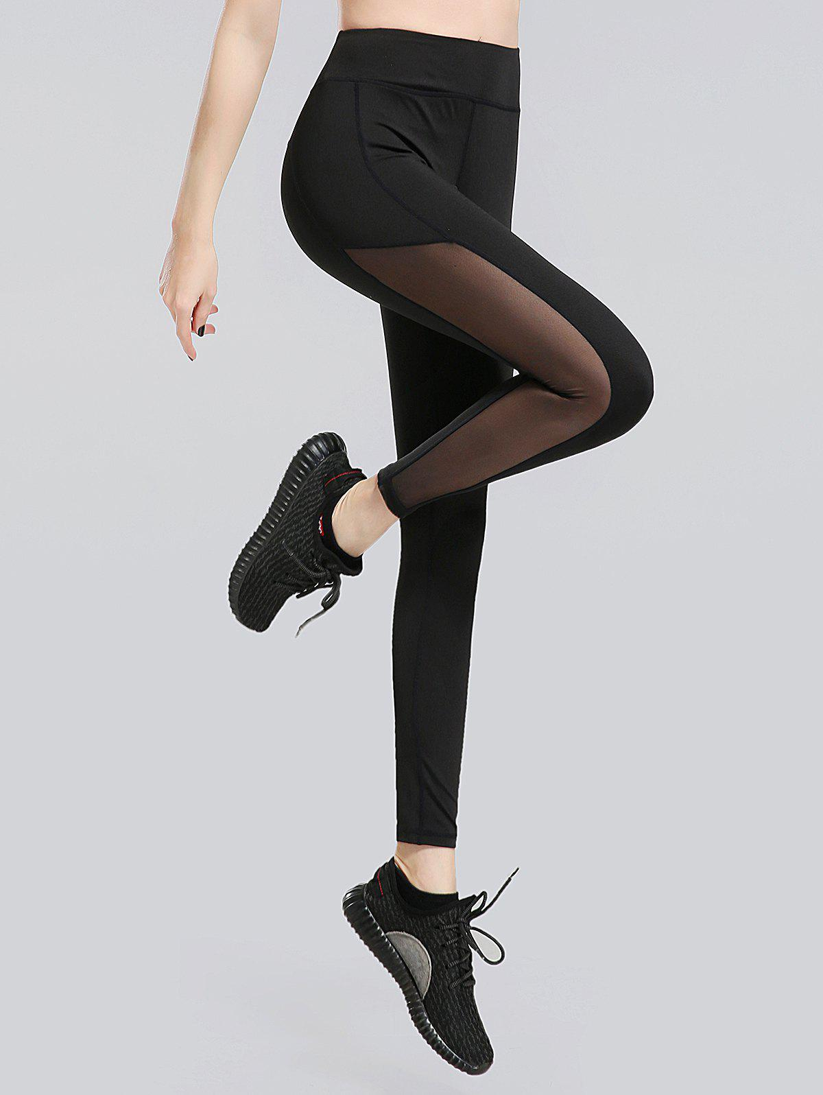 Sheer Mesh Panel Workout Leggings - BLACK XL