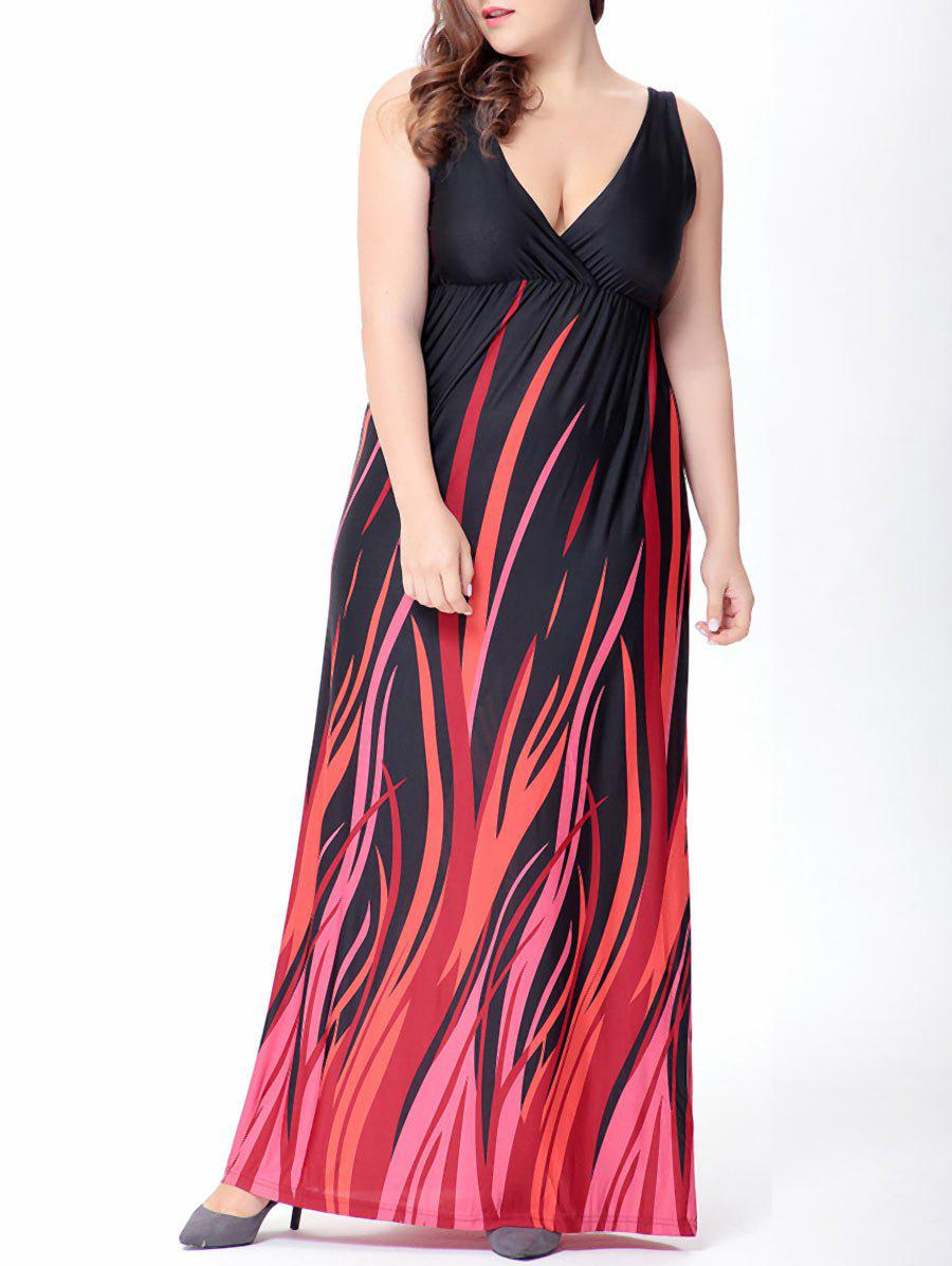 V-Neck Maxi Prom Dress - BLACK 2XL