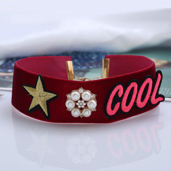 Artificial Pearl Star Cool Embroidery Choker Necklace - RED