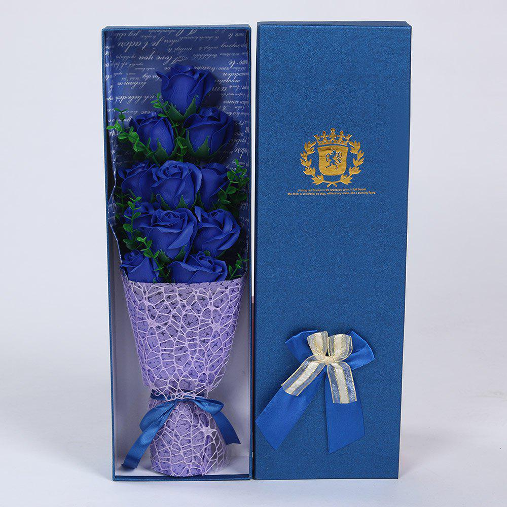 Mother's Day Gift 11 PCS Handmade Soap Rose Artificial Flowers - BLUE