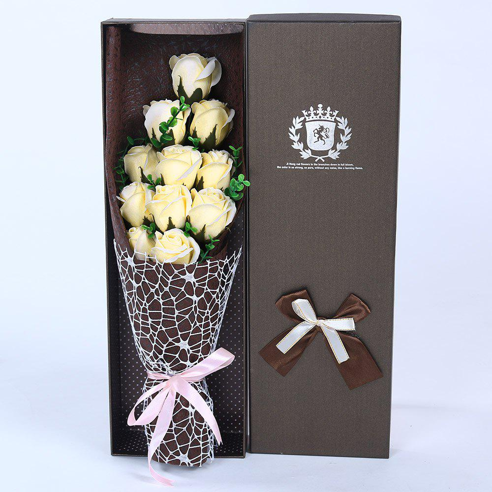 Mother's Day Gift 11 PCS Handmade Soap Rose Artificial Flowers - CHAMPAGNE