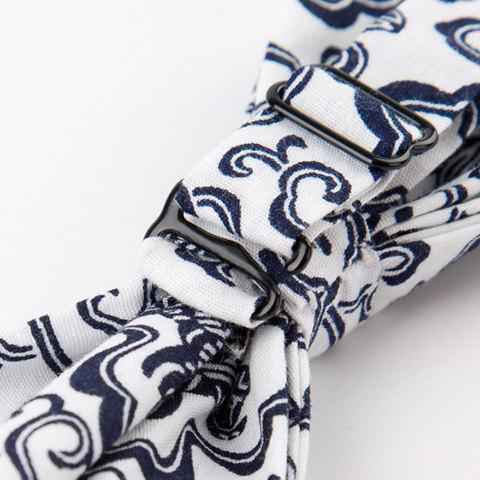Retro Floral Porcelain Printing Bow Tie - BLACK WHITE