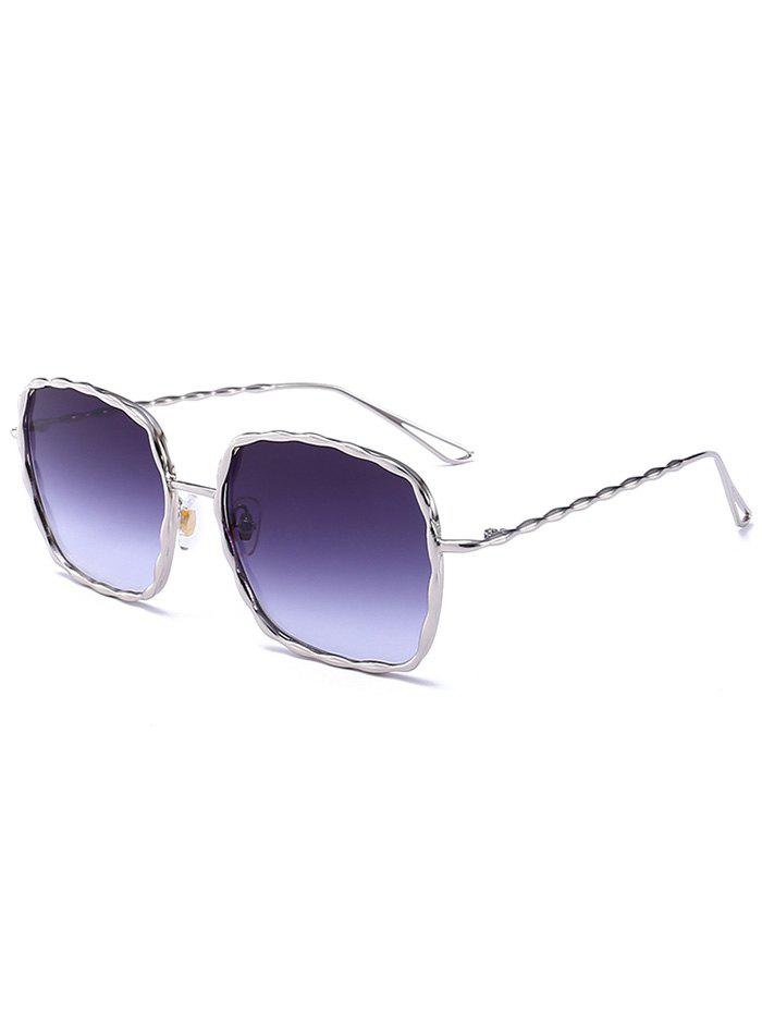 Wavy Rectangle Metal Frame Ombre Sunglasses metal frame rectangle ombre affordable polarized sunglasses