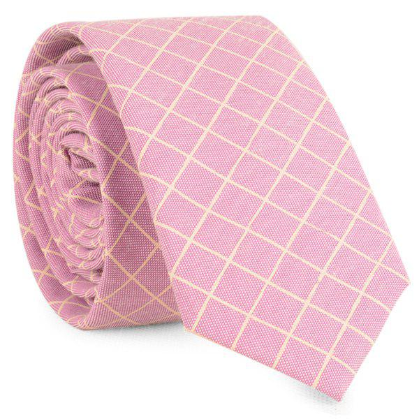 Plaid Cotton Blended Tie - SUEDE ROSE