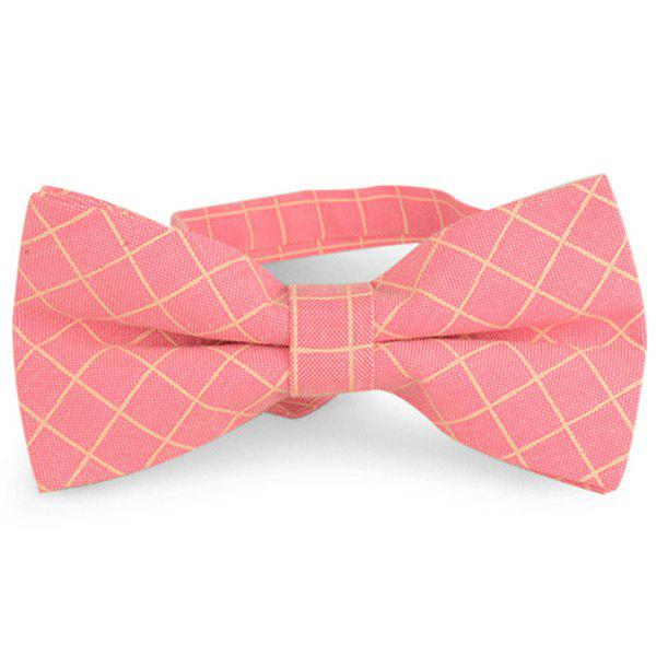 Checked Cotton Blending Bow Tie - PEACH RED