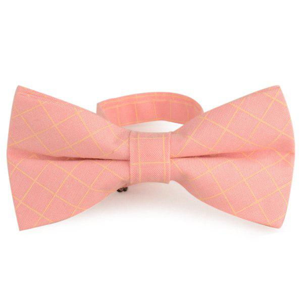 Checked Cotton Blending Bow Tie - LIGHT PINK