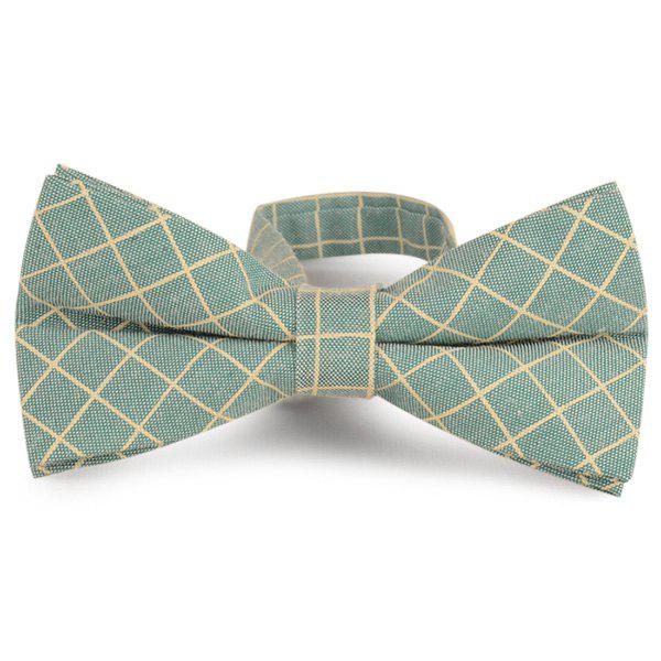 Checked Cotton Blending Bow Tie - LIGHT GREEN